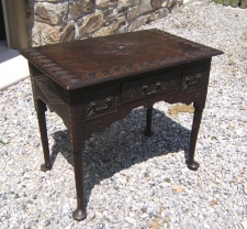 18th C English Queen Anne carved oak lowboy