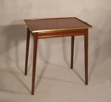 English mahogany tray top butlers serving table with brass inlay c1900