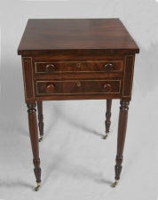 Federal 2 drawer work stand with brass inlay c1790