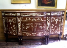 Continental birdseye maple sideboard with ivory inlay c1900