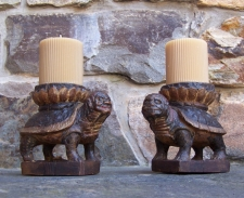 Pr 17thc Asian carved wood turtle candle holders in paint