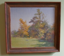 Fannie C Burr oil painting trees on the edge of a field c1880