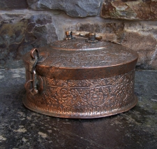 Early tinned  copper travel warmer from India 18th century