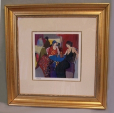 Itzchak Tarkay Peaceful Moments V Blue table serigraph