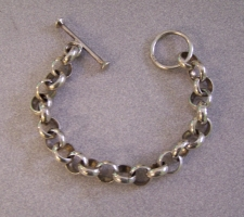 Vintage sterling silver watch fob bracelet