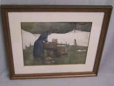 Fannie Burr watercolor of a woman scrubbing laundry c1900