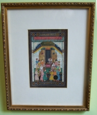 Indian miniature painting of a prince and his ministers 19thc