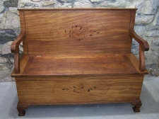 American Victorian inlaid hall bench c1880