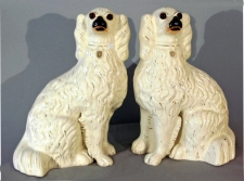 Staffordshire Potteries standing white spaniels with applied glass eyes c1880
