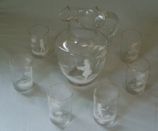 Mary Gregory blown glass water picture with glasses c1880
