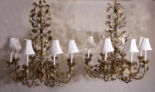 Pair hand wrought Italian gilt iron and tin chandeliers c1930