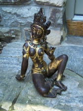 Vintage Indian gilt bronze seated female deity