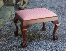 Vintage mahogany claw foot bench c1900