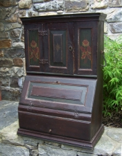 English 1829 painted pine paymasters desk