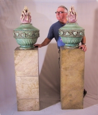 Pair of French 19thc stoneware urns on faux granite bases