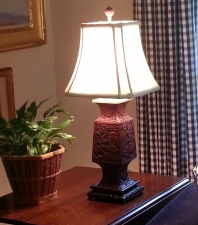 18thc Chinese cinnabar vase mounted as lamp