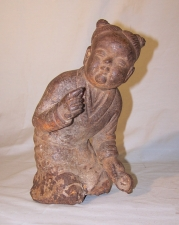 Chinese 19th c iron figure of little boy