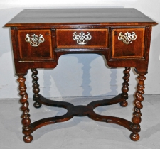 William and Mary period walnut lowboy or dressing table