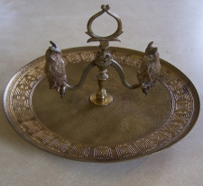 Tiffany Studio NY gilt bronze owl pen holder c1900