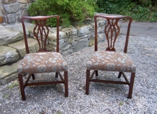 Pair American Chippendale mahogany side chairs c1790