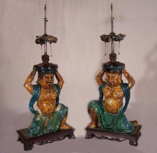 Chinese Ming dynasty temple guardian lamps