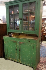 Early American kitchen cupboard in old green paint c1840