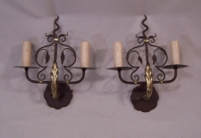 Hand wrought iron and brass wall sconces c1920