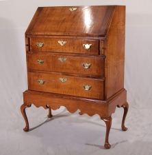 Centennial Queen Anne style drop front maple desk on frame c1880