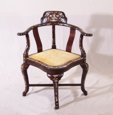 Chinese rosewood corner chair inlaid with mother of pearl c1875