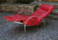 Billie contemporary red leather recliner chair by Lafer