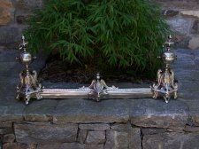19thc nickel plated French  fireplace chenets c1840