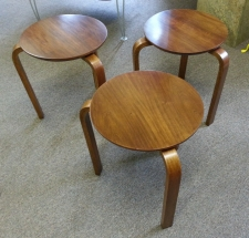 Set of three Alvar Aalto style stacking end tables c1950