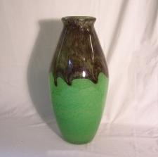 Degue French jade green art glass vase c1920