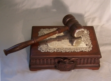 James W Knox Common Council presentation gavel and block c1911