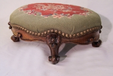 American Victorian rosewood needlepoint foot stool c1875