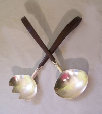 Vintage Mexican sterling silver rosewood salad servers