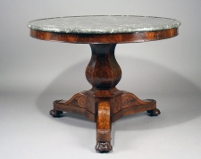 French Gueridon grey marble topped center table c1835