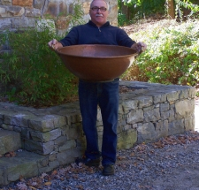 Huge heavy gauge American solid copper bowl