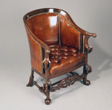 English mahogany leather tub chair c1865