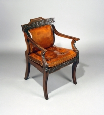 English walnut leather upholstered armchair c1850