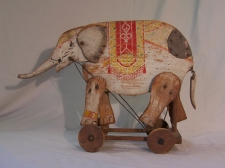 19th c painted wood elephant push toy