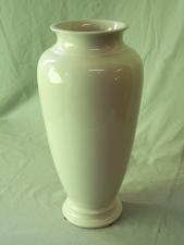 Large vintage Trenton pottery white vase with high gloss glaze