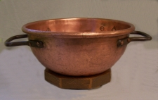 Early American hand made copper cauldron on stand c1850
