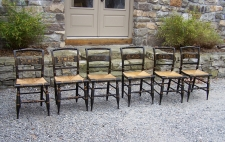 Set of six Hitchcock dining chairs with stencil backs and rush seats c1950