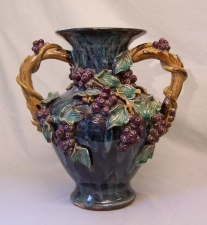 Vintage Continental ceramic vase with grapes and leaves