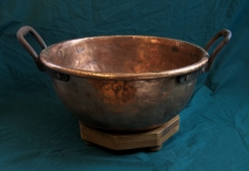 Early American copper cauldron on stand c1850